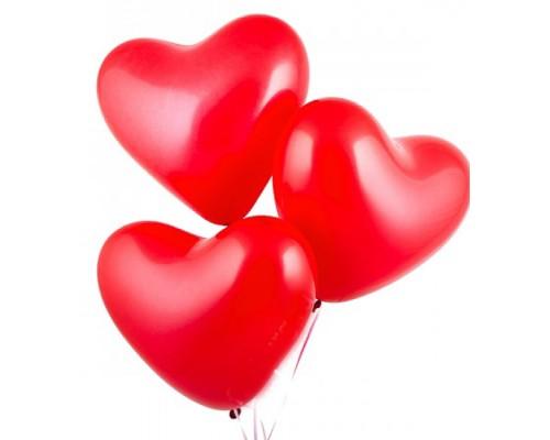 Шар латексный с гелием в форме большого красного сердца