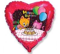 Шар фольгированный с гелием на день рождения Котята с тортом