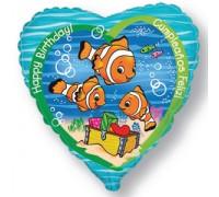 Шар фольгированный с гелием сердце Рыбки