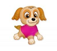 Фольгированный шар с гелием Собачка в розовом