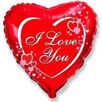 Шар фольгированный с гелием сердце I love you