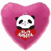 Шар фольгированный с гелием сердце Панда