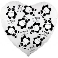 Шар фольгированный с гелием  сердце Панды в невесомости
