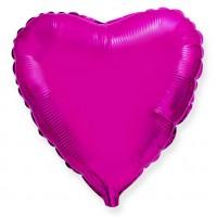 Шар фольгированный с гелием в форме сердца фуксия