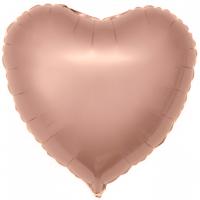 Шар фольгированный с гелием в форме сердца розовое золото