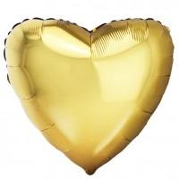 Шар фольгированный с гелием в форме сердца золото