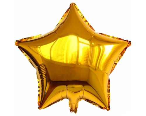 Шар фольгированный с гелием в форме золотой звезды