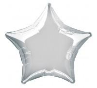 Шар фольгированный с гелием в форме звезды серебро