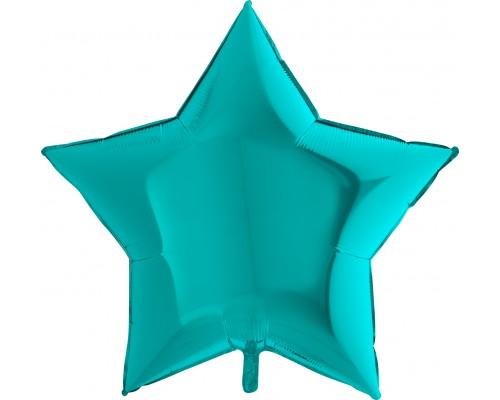 Шар фольгированный с гелием в форме бирюзовой звезды