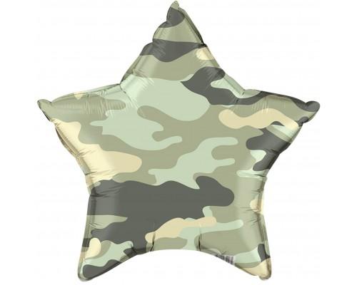 Шар фольгированный с гелием звезда Камуфляж