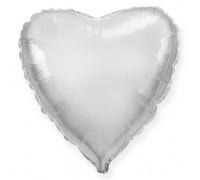 Шар фольгированный с гелием в форме сердца серебро