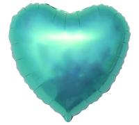 Шар фольгированный с гелием в форме сердца бирюза