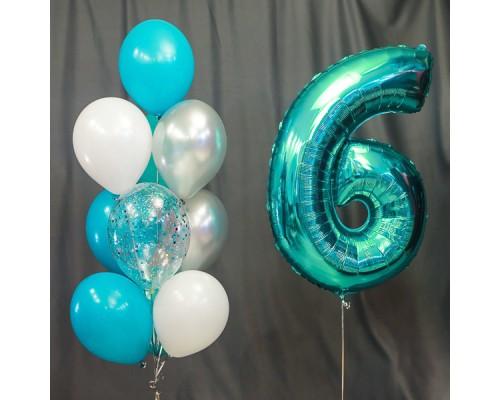 Набор гелиевых шаров на день рождения с цифрой Бирюза