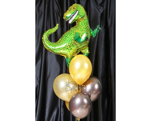 Набор гелиевых шаров на день рождения с Динозавром