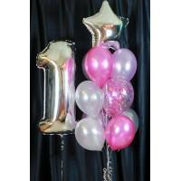 Набор шаров на день рождения с цифрой Розовая колыбельная