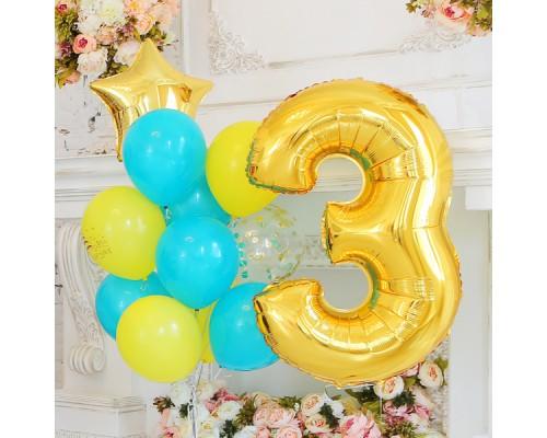 Набор гелиевых шаров на день рождения с цифрой
