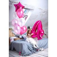 Набор гелиевых шаров на день рождения Малиновый