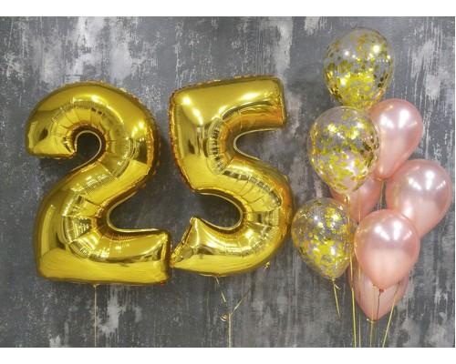 Набор гелиевых шаров на день рождения с цифрами