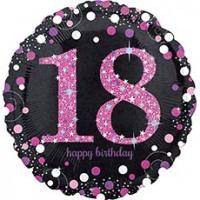 Шар фольгированный с гелием круг черный с розовым 18 лет