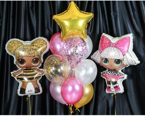Набор гелиевых шаров на день рождения Подружки ЛОЛ