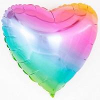 Шар фольгированный с гелием в виде сердца Радуга